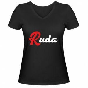 Damska koszulka V-neck Ruda