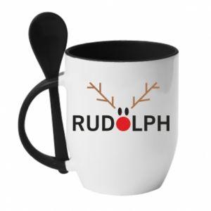 Kubek z ceramiczną łyżeczką Rudolph