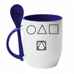 Mug with ceramic spoon Figures