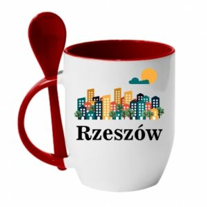 Mug with ceramic spoon Rzeszow city