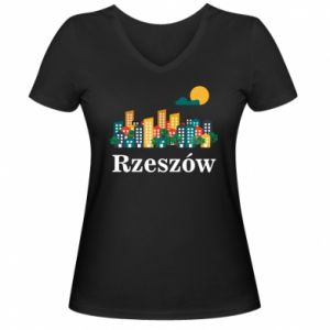 Women's V-neck t-shirt Rzeszow city