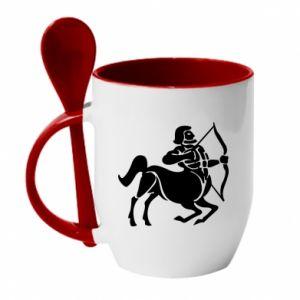 Mug with ceramic spoon Sagittarius