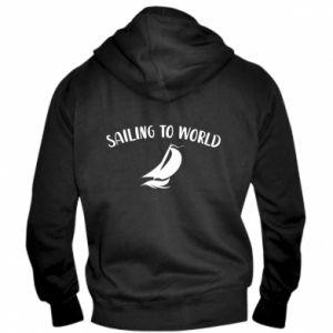 Męska bluza z kapturem na zamek Sailing to world