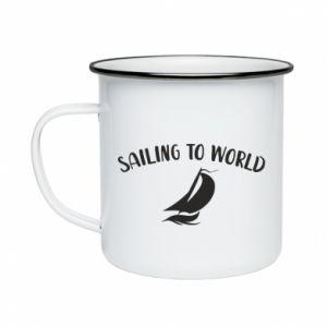 Kubek emaliowane Sailing to world