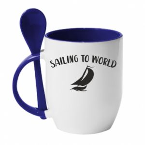 Kubek z ceramiczną łyżeczką Sailing to world