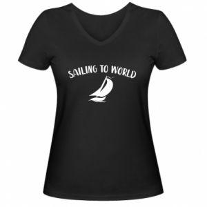 Damska koszulka V-neck Sailing to world