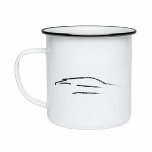 Enameled mug Race car