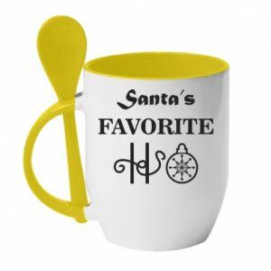 Kubek z ceramiczną łyżeczką Santa's favorite HO