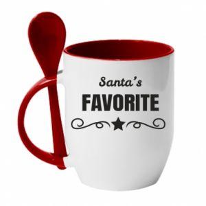 Kubek z ceramiczną łyżeczką Santa's favorite