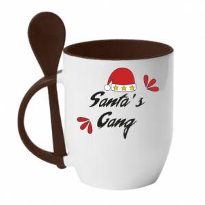 Kubek z ceramiczną łyżeczką Santa's gang