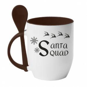 Kubek z ceramiczną łyżeczką Santa squad