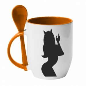 Mug with ceramic spoon Satan - PrintSalon