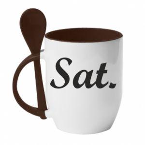 Kubek z ceramiczną łyżeczką Saturday