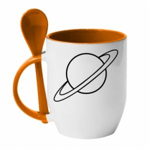 Mug with ceramic spoon Saturn