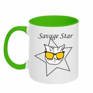 Two-toned mug Savage star