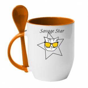 Kubek z ceramiczną łyżeczką Savage star