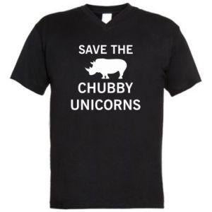Men's V-neck t-shirt Save the chubby unicorns