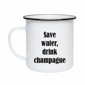 Kubek emaliowane Save water, drink champagne