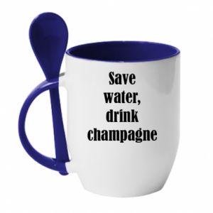 Kubek z ceramiczną łyżeczką Save water, drink champagne