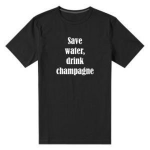 Męska premium koszulka Save water, drink champagne