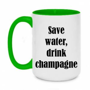 Two-toned mug 450ml Save water, drink champagne