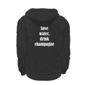 Kid's zipped hoodie Save water, drink champagne