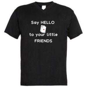 Męska koszulka V-neck Say hello to your little friends