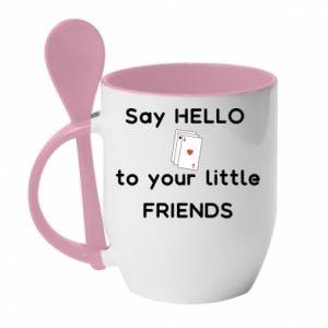 Kubek z ceramiczną łyżeczką Say hello to your little friends