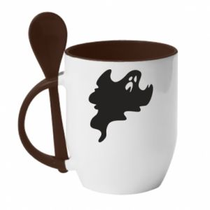 Mug with ceramic spoon Scary ghost - PrintSalon