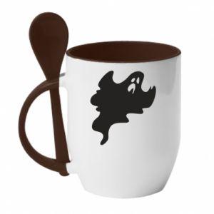 Kubek z ceramiczną łyżeczką Scary ghost