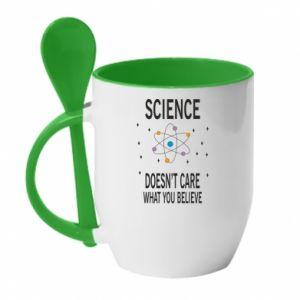 Kubek z ceramiczną łyżeczką Science doesn't care what you believe - PrintSalon
