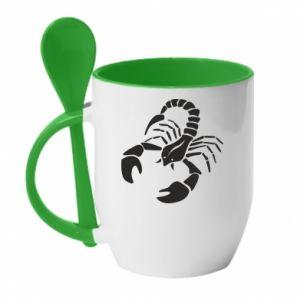 Kubek z ceramiczną łyżeczką Scorpio