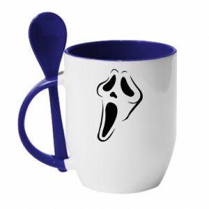 Mug with ceramic spoon Scream - PrintSalon
