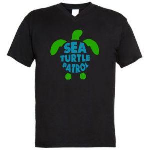 Męska koszulka V-neck Sea turtle patrol