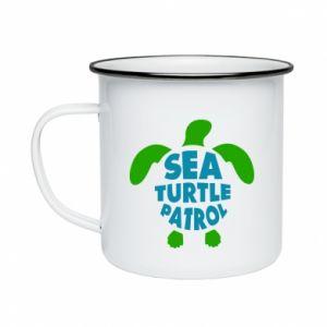 Kubek emaliowany Sea turtle patrol