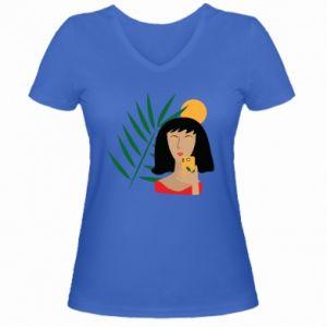 Damska koszulka V-neck Selfie - PrintSalon