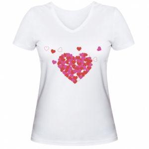 Damska koszulka V-neck Serca w sercu