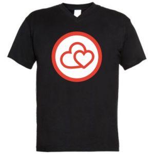 Męska koszulka V-neck Dwa serca - PrintSalon