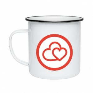 Enameled mug Two hearts
