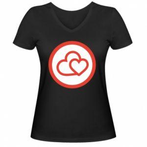 Damska koszulka V-neck Dwa serca