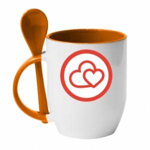 Kubek z ceramiczną łyżeczką Dwa serca