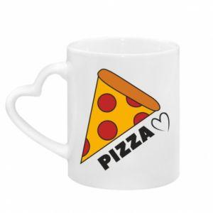 Kubek z uchwytem w kształcie serca Serce miłość pizzy