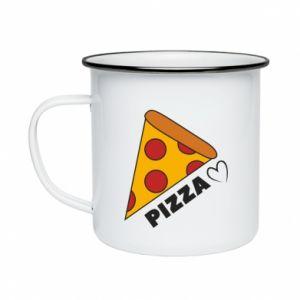 Kubek emaliowane Serce miłość pizzy