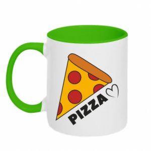 Kubek dwukolorowy Serce miłość pizzy
