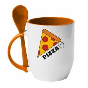 Kubek z ceramiczną łyżeczką Serce miłość pizzy