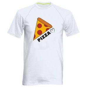 Męska koszulka sportowa Serce miłość pizzy