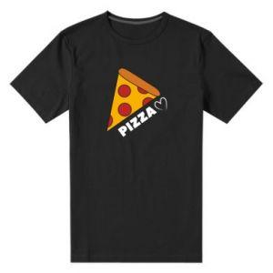 Męska premium koszulka Serce miłość pizzy