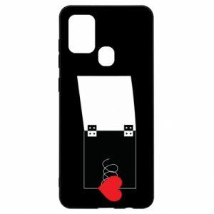 Etui na Samsung A21s Serce na sprężynce