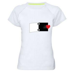 Damska koszulka sportowa Serce na sprężynce - PrintSalon