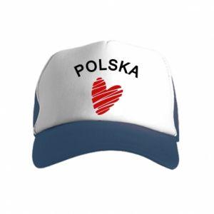 Czapka trucker dziecięca Serce Polska